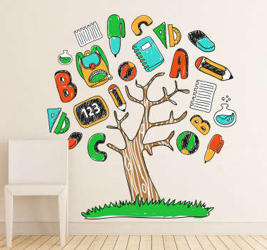 Classroom wall stickers - great illustration of a tree with many different school supplies such as pencils, pens, rubbers, notepad, etc. Make education fun!