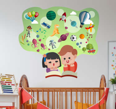 A children's wall sticker illustrating two little kids concentrated in their books! Superb educational decal for their study room or area.
