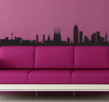 Wall Stickers - Silhouette design of the city of Barcelona. Cultural spanish city. Available in a variety of colours and sizes.