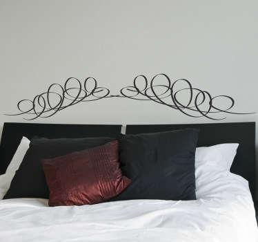 Sticker modern hoofdeinde bed krullen