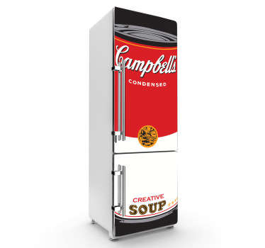 Campbellin keittojääkaapin tarra