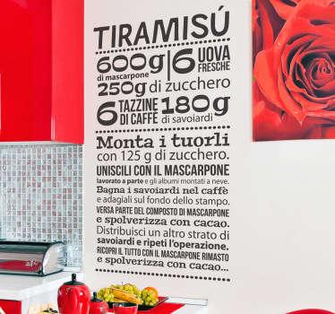 Sticker decorativo ricetta tiramisù