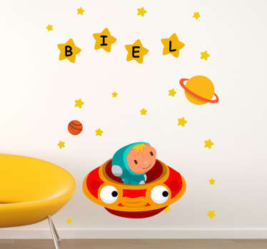 A magnificent space wall sticker illustrating a spaceship with stars! You can now have your child's name in those stars to give their bedroom or nursery a truly personal touch! This friendly orange and yellow wall decal is super easy to apply and leaves no residue upon removal.