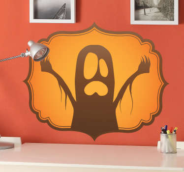 A creative halloween wall sticker illustrating a ghost that will scare everyone! Perfect ghost decal for your halloween party!