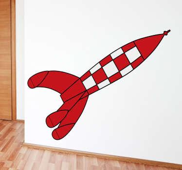 Punainen ja valkoinen rocket seinä tarra