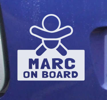 Aufkleber Name Baby an Board