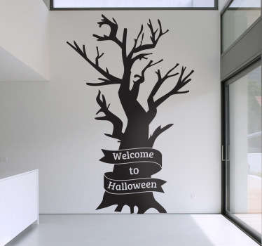 Sticker arbre welcome to Halloween