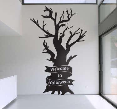 Welkom bij halloween boom sticker
