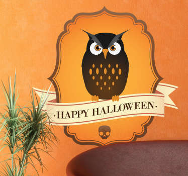 Owl Halloween Sign Wall Sticker