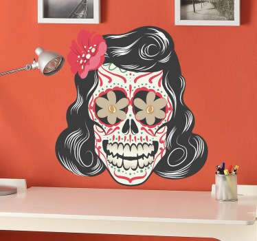 Decorate your home, vehicle, microwave, anything you want with this sticker inspired by Mexico's day of the dead festival. A freepik design. Make your home a happy one with this fantastic decal of a woman's skull with floral patterns and bright colours.