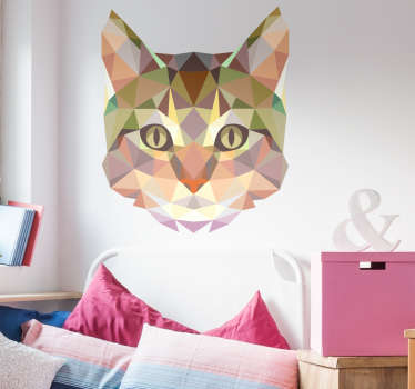 A geometric cat wall sticker from Freepik. A distinctive striking animal wall sticker to decorate your walls, cupboards and appliances. Colourful cat's face decal to show off your love of the best pets in the world! Available in various sizes.
