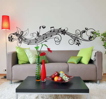 Music Wall Stickers - floral illustration showing a string of notes and swirls, perfect for making your living room or bedroom stand out. Fill the empty space on the wall with this simple but beautiful musical decal.