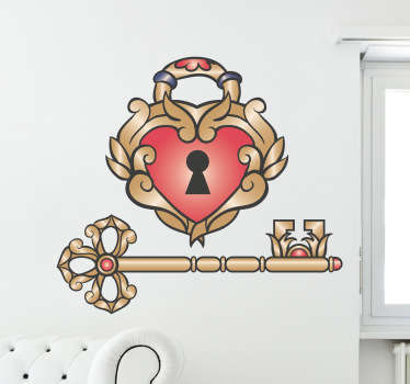 A romantic wall sticker illustrating a vintage lock of love design! Brilliant heart decal for those looking for an original wall decoration.