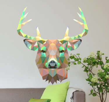 Decals - Striking geometric illustration of a deer. Distinctive colourful feature. Ideal for all ages.