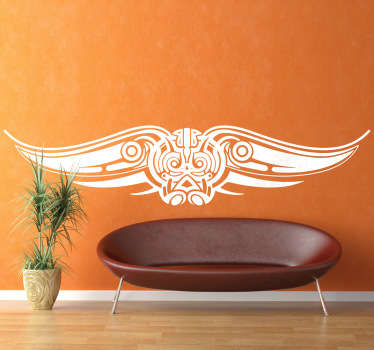 A decorative vinyl sticker illustrating an American Eagle tribal design. Decorate your bedroom with this great monochrome decal!