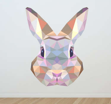 A geometric wall sticker of a rabbit face. Brilliant design from our collection of rabbit wall stickers to decorate your bedroom or living room or let your children enjoy it and apply it on the walls of your kid's bedroom or nursery!