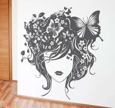 Decals - Detailed illustration of a young woman with curly hair fused with flowers, plants and butterflies.