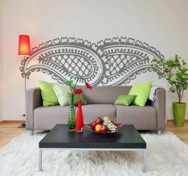 Decals - Asian floral pattern illustration. Distinctive feature. Available in various sizes and in 50 colours. Wall stickers.
