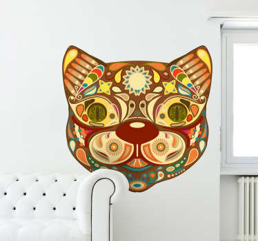 Decals - Exotic and colourful illustration of an Asian cat mask. Available in various sizes. Made from high quality vinyl.