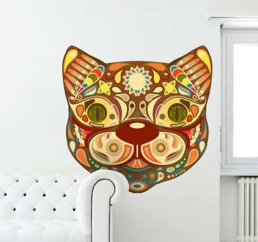 Sticker kleurrijke kat