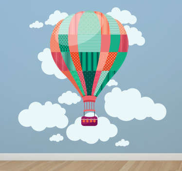 Amazing hot air balloon wall sticker for children, illustration of a balloon flying past clouds in the sky. Design from our collection of cloud wall stickers. This patchwork kids wall decal is sure to inspire the little ones' imaginations and put a smile on their face.