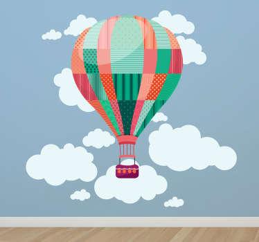 Sticker kind luchtballon wolken