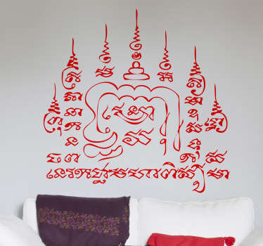 A superb monochrome wall sticker illustrating a meaningful thai tattoo known as the 9 Spires.