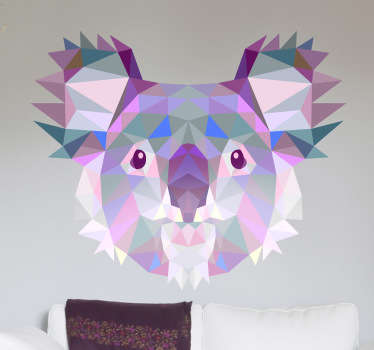 A great geometric illustration of a koala bear. This animal decal from our collection of purple wall stickers is perfect for animal and art lovers!