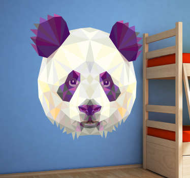 Decals - Striking geometric illustration of a panda bear. Distinctive colourful feature. Ideal for all ages.