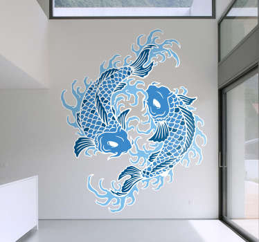 Modern and unique star sign wall sticker showing two oriental style fish circling each other to create the symbol for Pisces. This pair of blue koi fish with white eyes are sure to create an awesome look for your bedroom, dining room or living room while showing off your love for astrology.