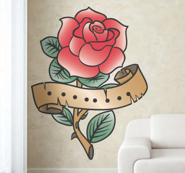 Wall Stickers - Rose tattoo illustration to decorate your walls, cupboards, appliances and more. High quality vinyl, easy to apply and remove