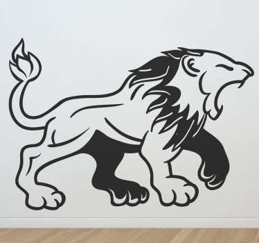 Decals - Medieval style illustration of a roaring lion. Suitable for decorating walls, furniture, appliances, devices and more.