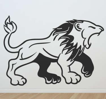 Vinilo decorativo rugido medieval león