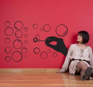 Sticker silhouette main bulles