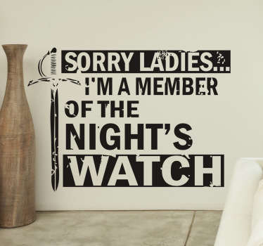 Game of Thrones Night Watch Wall Sticker
