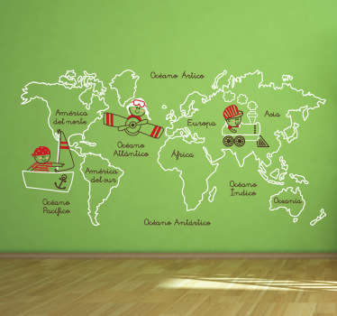 Kids Continents Illustration Wall Sticker
