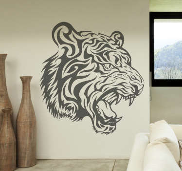 Decals - Striking illustration of a fierce tiger. Distinctive feature. Suitable for decorating walls