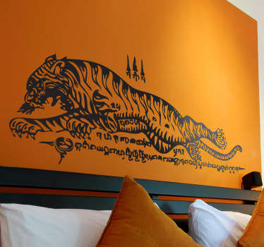 Wall Stickers - An Asian oriental Thai style illustration of a tiger. Distinctive feature for your home or business.