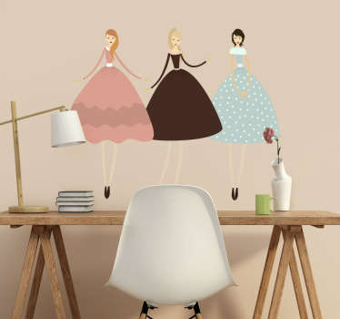 An elegant wall sticker illustrating three young girls wearing vintage dresses. Superb fashion decal to decorate your home or store.