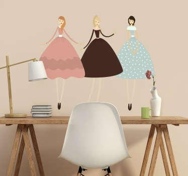 Drie nette dames jurken sticker