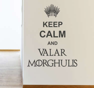 Wall Stickers - Original Keep Calm design inspired by the hit HBO series Game of Thrones. Discounts available. High quality.