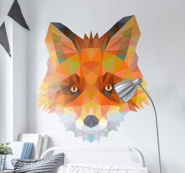 Striking geometric wall sticker illustration of a cunning fox, from our wild animals wall stickers collection. Distinctive colourful feature. Ideal for all ages. Easy to apply and easily removable without leaving a residue.