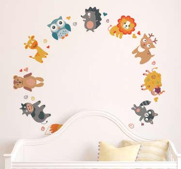 çocuklar hayvan çemberi duvar sticker