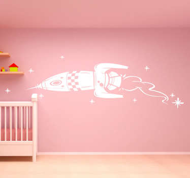 Kids wall sticker of a space ship rocket flying through the stars, ideal for little space explorers. This monochrome rocket wall sticker is available in various sizes and in 50 different colours allowing you to fully customise to walls of your child's bedroom the way they like it.