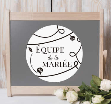 Un sticker mariage rond pour avoir une décoration unique et originale lors de cet événement. Personnalisez-le avec les informations que vous souhaitez !