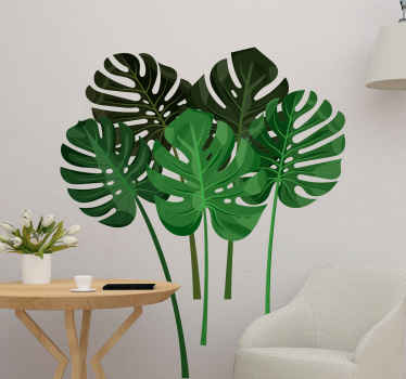 Vinilo decorativo plantas con hojas monstera que te ayudará a tener una decoración más única y natural ¡Envío a domicilio!