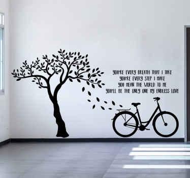 Dekorativt træ væg kunst mærkat med cykel og tekst design. Du vil bestemt ikke forlade dette design, især hvis du er en cyklist.