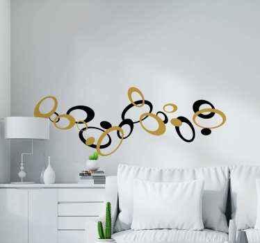 Adorabile adesivo geometrico creativo e decorativo realizzato in colore oro e nero. Il design in primo piano è ornamentale e realizzato in vinile di alta qualità.