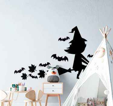 Horrific featured Halloween sticker, the design is decorative for the bedroom of children. It contains a witch flying with broom and flying bats.
