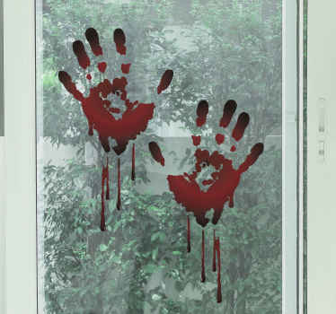 Bloody hand traces Halloween sticker, a realistic and scary  and Halloween decoration for home and other space. Easy to apply and made of high quality.